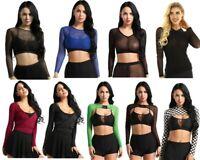 Women Long Sleeve Blouse Mesh Crop Top Shrug T-shirt Top Cardigan Wraps Clubwear