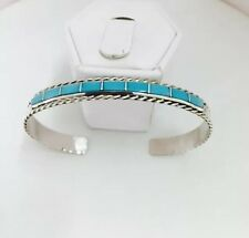 Native American Sterling Silver Zuni Handmade Turquoise Inlay Cuff Bracelet