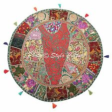 """32"""" Round Patchwork Embroidered Pouf Cover Cotton Green Floor Cushion Cover"""