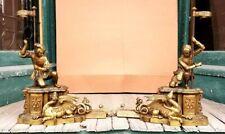 Superb Victorian Figural Bronze Chenets Griffin Dragons W Knights