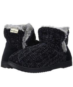 Dearfoams Women's Fairisle & Solid Chenille Knit Boot Slipper Black Medium(7-8)