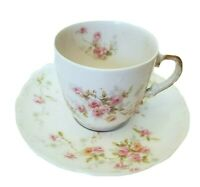 ANTIQUE LIMOGES FRANCE THEODORE HAVILAND PINK ROSES DEMITASSE CUP & SAUCER