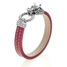 "Invicta J0312 Men's 8.5"" Italian Made Red Leather Subaqua Bracelet MADE IN ITALY"