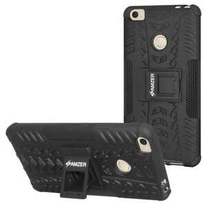 AMZER Dual Layer Black Hybrid Warrior Case with Stand Cover For Xiaomi Mi Max