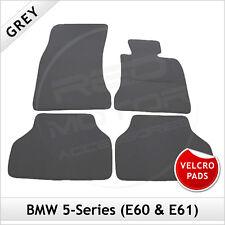 BMW 5-Series E60 E61 2003-2010 Velcro Pads Tailored Carpet Car Floor Mats GREY