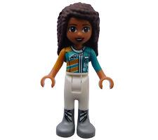 Neu Legofigur Lego Friends Andrea Rennfahrerin weiße Hose Minifigur frnd253