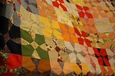 "Vintage  Patchwork ""WINDMILL"" Quilt Top 101""x108"""