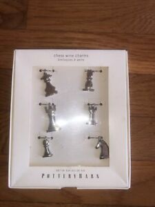 Pottery Barn Chess Wine Charms New In Box Silver Color