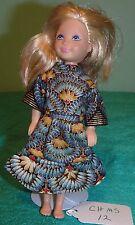 Black, Teal & Gold Fan Print Dress for Chelsea & Kelly Barbie Doll CHMS12