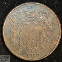 1868 Two Cent Piece, Almost Uncirculated Details, Corrosion, Free Shipping C4925