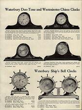 1937 PAPER AD Waterbury Duo Tone Chime Mantel Clock Ship Bell Borg The Notifier