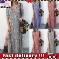 Women Roll Sleeves Boho Floral Long Dress Ladies Holiday Summer Beach Maxi Dress