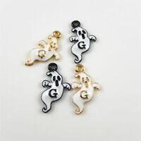 15pcs/lot Black/Gold Ghost Look Enamel Alloy Pendants Charms Crafts 52980