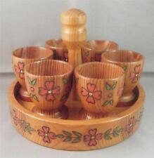 """Vintage Wood Hand Painted Carved Pyrography 2"""" Egg Cups Holders w/ Tray Set (6)"""
