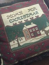 HOME for CHRISTMAS tapestry holiday PILLOW winter scene