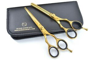 """5.5"""" Professional Barber Hairdressing Salon Thinning Haircutting Scissors Gold"""