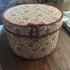 """Vintage Hat Box 10"""" Round with Multi-color Paisley Design and 6.5"""" Tall"""