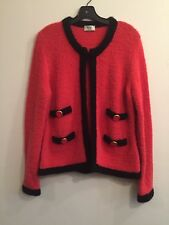 Weill France Jackie O Style Boucle Knit Sweater Jacket US 10