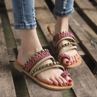 Women Boho Toe Ring Sandals Slipper Gladiator Summer Flip Flops Flat Thong Shoes