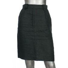16072 auth CHANEL black linen Knee-Length Skirt F38 S