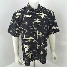 Camel Trophy Hawaiian Button Shirt S Small Black Short Sleeve Vtg