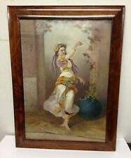 A Painted Gypsy Woman Porcelain Plaque, Artist Signed