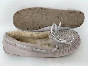 NEW! Bongo Women's Moxie Slip On Moccasin Fur Lined Slippers Tan #86861 141N r