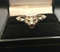 Gucci Vintage sterling silver Feline head ring