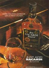 Ron Bacardi Reserve Puerto Rican Rum PRINT AD 1995  Improve Fine Cigar Rare