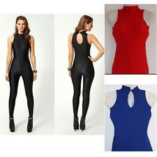 HIGH NECK SLEEVELESS DISCO DANCE UNITARD LEOTARD  PLAYSUIT CATSUIT JUMPSUIT