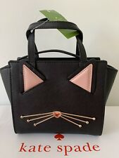?? KATE SPADE Jazz Things Up Mini Hayden Black Cat Leather Crossbody