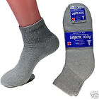 New Lot 12 Pairs Gray Diabetic Ankle Socks Short Health Cotton Mens Size 13-15