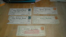 CITY BANK PITTSBURGH PA - 5 DIFF CHECKS 1870'S WITH REVENUE STAMPS