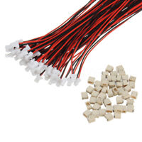 50 Sets Mini Micro JST 1.0mm SH 2-Pin Connector Plug With Wires Cables 150mm