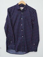 Fab JACK WILLS Men's Long Sleeve Navy Blue Patterned Slim Fit Shirt SMALL 36-38""