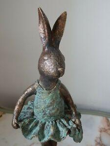 Cute Pair Of Ballerina Bunny Rabbit Animal Figurine Statue Decorative Ornaments