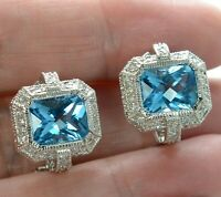 Solid 925 Sterling Silver Blue and White CZ Earrings .