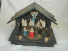 Vtg Art Plastics Musical moving Nativity Set British Hong Kong Wood Manger