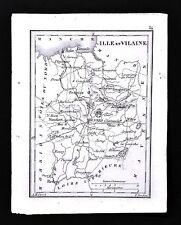1833 Perrot Tardieu Map - Ille et Vilaine - Rennes Vitre Monfort Fougeres France
