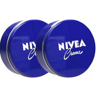 2 x Nivea Moisturizing Body Creme 400ml (13.5 fl oz.) Blue Tin Box Skin Cream