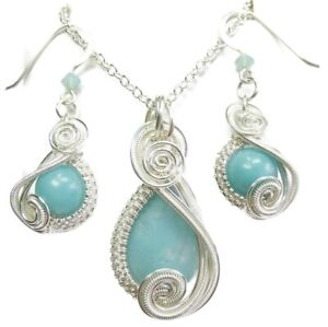 Amazonite & Swarovski Crystal Wire-Wrapped Earring/Necklace Set -Sterling Silver