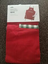 WiLKO Festive Christmas Red & Green Cotton apron with pocket