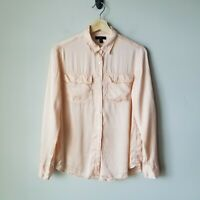 J Crew Pink 100% Silk Blythe Shirt Button Front Long Sleeve Blouse Size 4