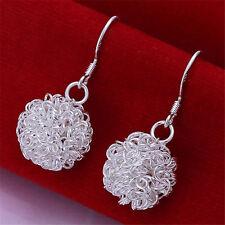 beautiful Fashion Silver plated  Earrings mesh ball jewelry cute charms hot sale