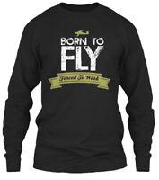 Born To Fly- Forced Work - Fly Gildan Long Sleeve Tee T-Shirt