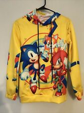 Sonic-Hedgehog Knuckles Tails Unisex Youth Hoodie All-Over Print Yellow Sz Med