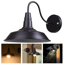 Retro Vintage Industrial Barn Light Wall Sconce Wall-mounted Metal Shade Black