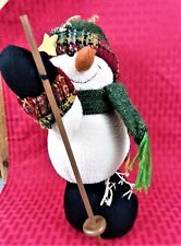 1077be8d1a096 COLLECTIBLE COUNTRY FABRIC STUFFED SKIING SNOWMAN 10
