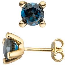 Damen Ohrstecker 585 Gold Gelbgold 2 Blautopase blau London Blue Ohrringe
