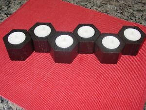 6 Hexagon Solid Wood Tea Light Holders Red Oak w/ Metallic Rubbed Oil Bronze